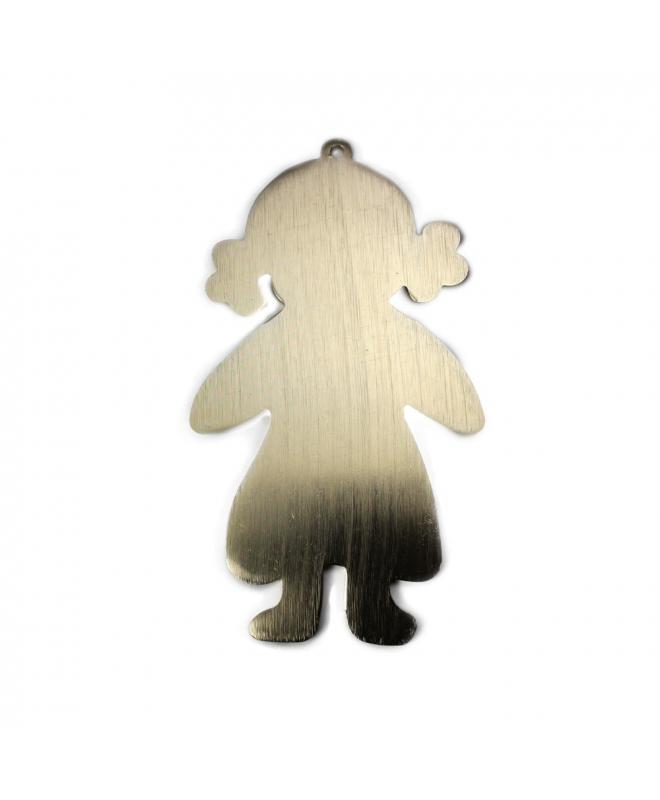 Colgante Niña Aluminio Color Oro Mate Para Collar