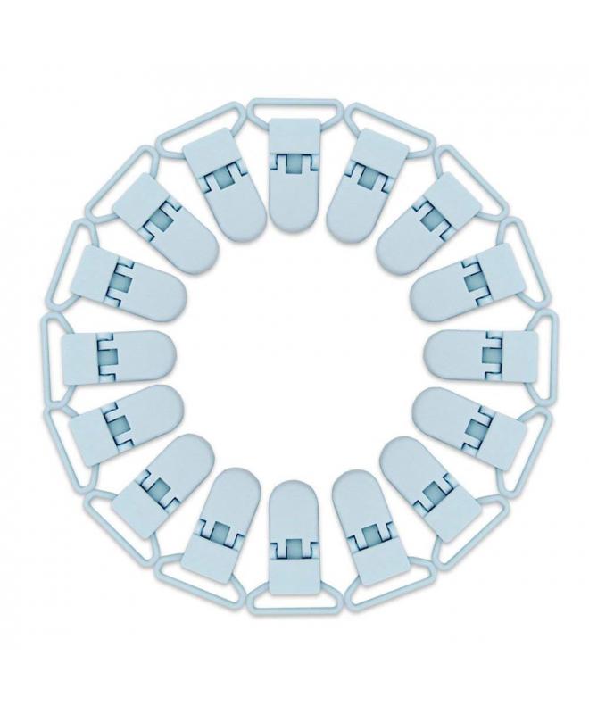 6 Pinzas Chupetes de pl/ástico con cierre de pinza especial para beb/é. Azul Pastel RUBY