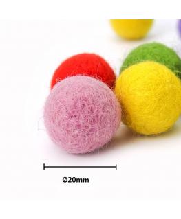50pcs Bolas de fieltro 20mm 100% lana Colores Variados fieltro para manualidades