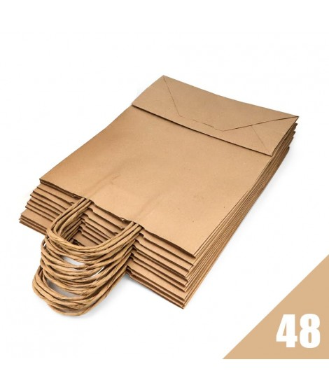 Brown Kraft Paper Bags with Curled Handles