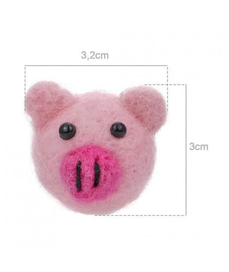 Figure Piglet Head 100% Wool Felt