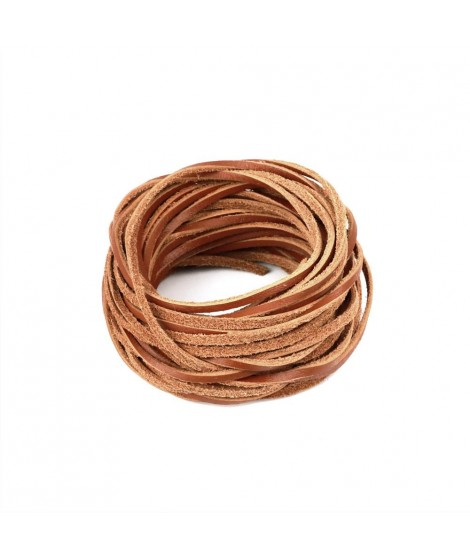 Cord/ón de cuero color marr/ón envejecido redondo, 2 mm Esnado