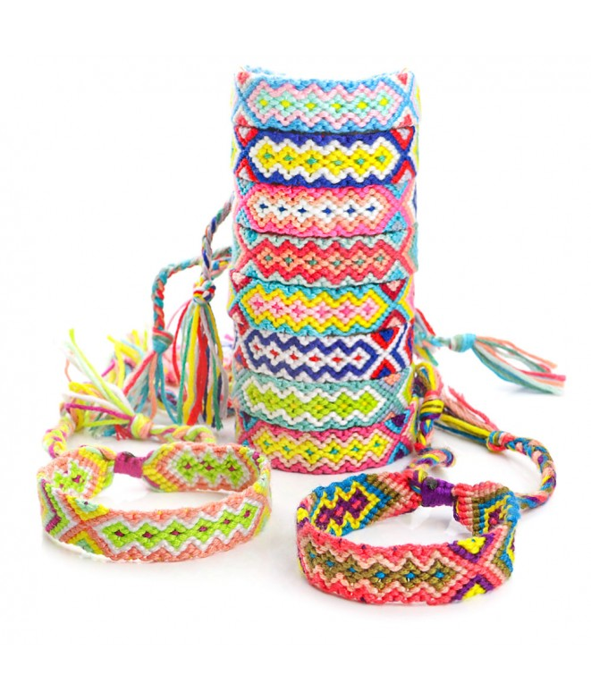 Lot 10 Ethnic Cotton Bracelets